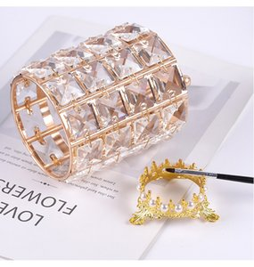1pcs Nail Pen Holder Crystal Nail Art Brushes Pen Holder Glass Container Metal Luxury Rose Gold Tool
