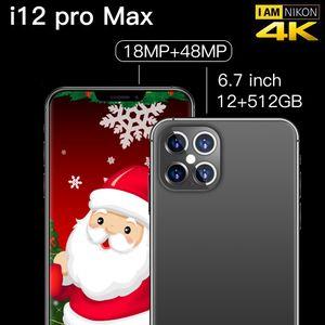 I12PROMAX Mobile Phone 6.7 Inch 10-Core 512GB Dual Sim 4800mAh Android 9.0 Smartphone 4800mAh Mobile Phone free shipping