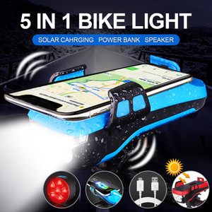 Bicycle Light USB Solar Charging 5 IN 1 Multifunction Horn Phone Holder Front Lamp Flashlight For Bike Led Bicycle Light lantern Z1204