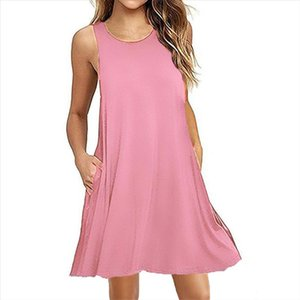 Women Autumn Dress Fashion Solid Pink Dress Ladies Casual Clothing sleeveless Sundress Mini Short Loose Green Gray Pocket