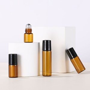 Mini Amber Glass Essential Oil Roller Bottles 1cc 2cc 3cc 5cc with Metal Ball Perfumes Balms Sample Roller Bottles