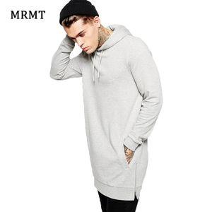 New Arrival Fashion Men's Long Grey Hoodies Sweatshirts Feece with Side Zipper Hip Hop Streetwear Shirt Tops Longline