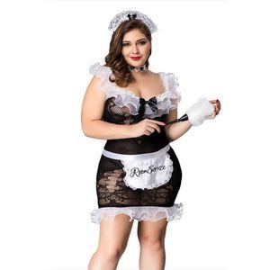 Grande Uniforme Fat Lady Maid Set Plus Size Cosplay Preto cinco Lingerie para mulheres Erótico Porno Hot 03 #