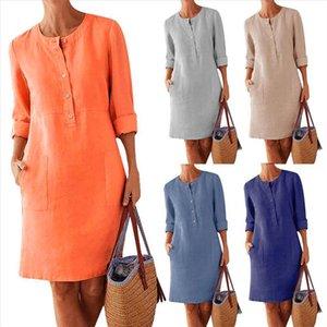 2020 Plus Size Casual Solid Color Cotton Linen Women Long Sleeve Tunic Dress length summer dresses