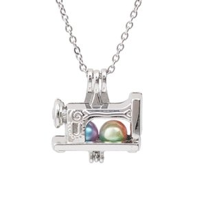 1pc Silver Plated Sewing Machine Oyster Pearl Cage Pendant Necklace Pearls Jewelry Essential Oil Diffuser Lockets Fun Gift