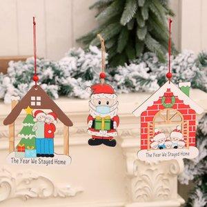 Рождественские украшения Деревянные окрашенные кулон Xmas Дерево кулон Деревянный Деревянный Санта-Клаус кулон Рождество висит орнамент OWA2449