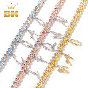 THE BLING KING Pink 9mm Width Cuban Chain With Alphabet Pendant DIY Blue Stones Chain Female Jewelry