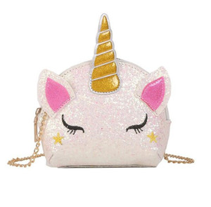 5 styles Unicorn Chain Shoulder Bags Bling Sequins Cartoon Crossbody Bag kids Messenger Bag coin bag party favor gift YYBE3129