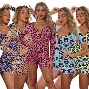 Jumpsuits Langarm Sleeve V-Ausschnitt Leopard Print Strampler Sexy Skinny Shorts Jumpsuits Frau Kleidung Designer Womens