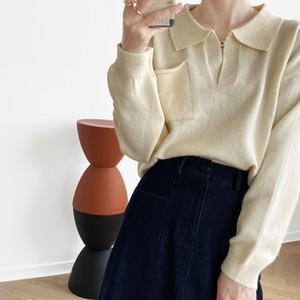 Hxjjp computadora de punto para mujer solapa otoño nuevo color sólido suéter suéter jersey