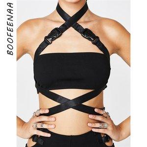 Boofeenaa Black Sexy Crop Top Streetwear Gothic Halter Backblob Cross Cross Buckle Tain Tops Rave Festival Женская одежда C94-H23 Y200422