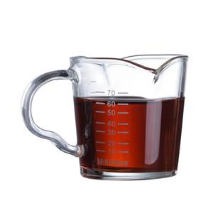 70ml 2.5oz Espresso Shot Lunettes Cruche à lait avec balance Pichets à café Double becs Double bec épaissis Tasse à café Barista Tasse à mesurer Q0108