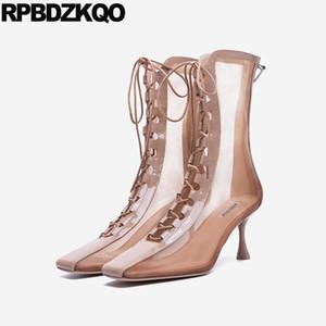 2020 на высоком каблуке на шнуровке римских сандалий Винтажные сетки Stiletto Square Toe Mid Calf Shoes Woman Boots Gladiator осень