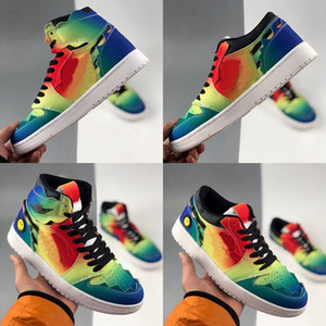 2020 J Balvin 1s high og Womens mens basketball shoes jumpman 1 tie dye jbalvin Multi-Color Rainbow trainers sports sneakers des chaussures