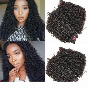 H A Pissy Curl Double Drawn Funmi Funmi Human Hair Bundles con chiusura Brasiliano Piccolo Kinky Riccio Ricci Capelli Human Human Weaves Color 10