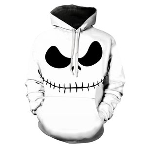 Biaolun Spring Men 2020 Cool Evil Jack Smile King Skellington Pattern Sudadera con capucha Hombre Calabaza Streetwear Halloween Party NFHDS