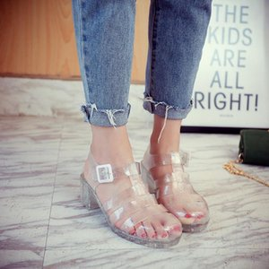 Women Jelly Shoes Lady's Garden Shoes Beach Sandals High Heel Pumps Summer Style Comfortable Bling Silver Black Size 40