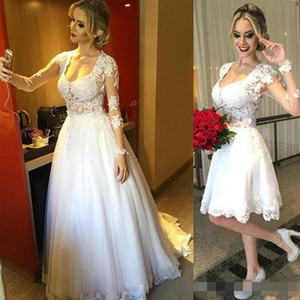 Sexy Two in One Wedding Dress Scoop Neck Illusion Long Sleeves Sheer Top Detachable Long Over Skirt Short Bridal Gowns Lace Appliques_