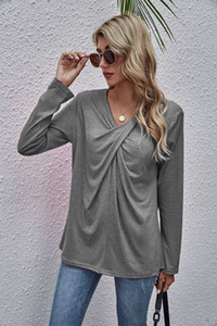 Fashion Women Streetwear T Shirt Long Sleeves Solid Color Shirts Casual Spring Autumn Ladies Tees High Quality Womens T Shirts S-2XL