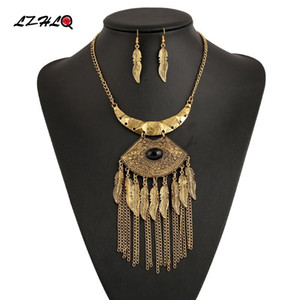 LZHLQ Maxi Vintage Carved Pendant Necklaces Ethnic Leaf Tassel Necklace Metal Mosaic Resin Accessory Brand Jewelry Statement