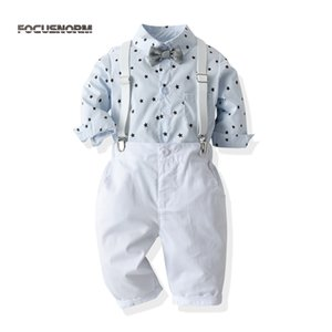 FOCUSNORM 0-24M Autumn Kids Boys Clothes Sets 2pcs Gentleman Palid Long Sleeve Shirts Tops Pants Bow Tie Y1113