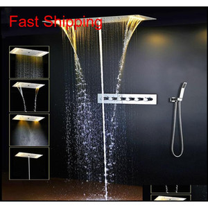 Modern Led Bathroom Shower Set Accessories Faucet Panel Tap Hot And Cold Water Mixer Led Light Ceiling Shower Head Rainfall Waterfall Njbwx