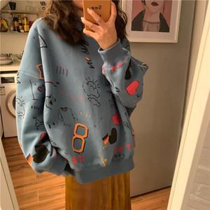 2020 Spring Womens Clothes Hoodies Teen Street Harajuku Hip Hop Pastel Sweatshirt for Women Printing Loose Leisure Hoodie 11