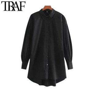 TRAF Women Fashion Button-up Loose Irregular Blouses Vintage Lapel Collar Long Sleeve Female Shirts Chic Tops