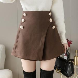 Fitaylor New Autumn Winter Women Shorts Double Buttons Slit Skirt Shorts Ladies Elegant Vintage Short Pant Fashion Woolen Skirt