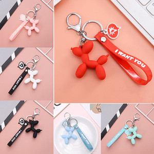 Fashion keychain Stereo Cute Balloon Dog Keychain for women girls men Key ring Cartoon animal car key Bag Pendant trinket
