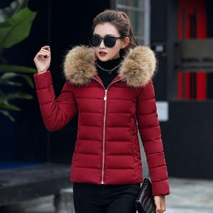 Fashion Solid Chic Short Fur Coat Hooded Winter Down Coat Female Oversize Jacket Cotton Padded Wadded Parkas Wind Breaker