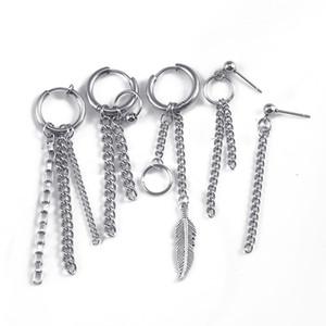 Orecchini di piume di colore dell'argento antico 1pc Catena di collegamento lungo Tassel Orecchino per gli uomini Donne Punk Polsino dell'orecchio Polsino dell'orecchio Accessori per gioielli 109 G2