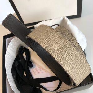 Классическое лучшее качество Beige / Ebony Canvas с коричневой кожаной отдельной отделки мужской ремень с коробкой для мужчин дизайнеры ремни Женские ремни дизайнерские ремни