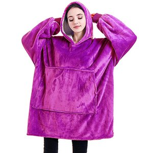 Winter Warm Blanket With Sleeves Oversized 6 Color 850Grams Plush Hoodie Sweatshirt Outdoor Wearable Blankets