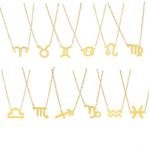Fashion 12 Constellation Necklaces Pendants For Women Horoscope Astrology Galaxy Zodiac Choker Necklaces Jewelry Birthday Gifts 133 O2