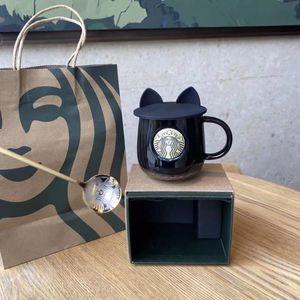 Starbucks Cup Tazas de beso de lujo con tapas y cuchara Pareja Tazas de cerámica Parejas casadas Aniversario Mermaid Bronce Medallion Regalo Productos de regalo