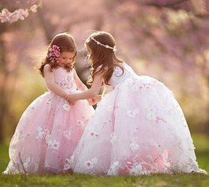 Pink Ball Gowns Flower Girl Dresses Lace 3D Floral Flowers Puffy Kids Toddlers Pageant Gowns First Communion Gown Wedding Party Dressg
