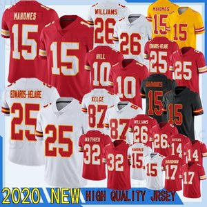 15 Patrick Mahomes 26 Bell 25 Edwards-Helaire 2020 New Football Jersey 87 Travis Kelce 32 Mathieu 29 베리 17 Hardman 10 Hill 14 Watkins