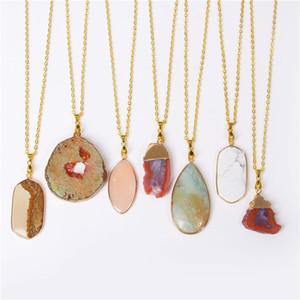 Druzy Agates Collana per donna Uomo Crystal Quartz Slice Ciondolo collane Charms Collar Brincos Catena Natural Stone Pendant