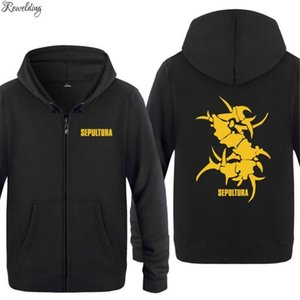 Mens Hoodie Rock Sepultura Printed Hoodies Men Hip Hop Fleece Long Sleeve Zipper Jacket Coat Sweatshirt Skate Tracksuit Big Size