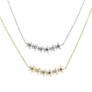 Gold silver color micro pave colorful rainbow cubic zirconia cz pearl beaded flower charm cute lovely dainty cz women necklace