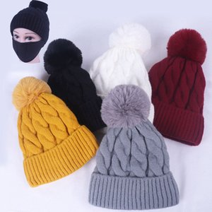DHL Shipping Women Winter Warm Knit Pompom Hats Beanies Crochet Hat with Face Mask Knitted Ski Caps with Filter Kimter-X856FZ