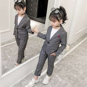 Teenage Girls Clothing Set Autumn Plaid Suit for Girls Jackets Pants School Tracksuit Boys Clothes Children Clothes 8 10 Years Y1113
