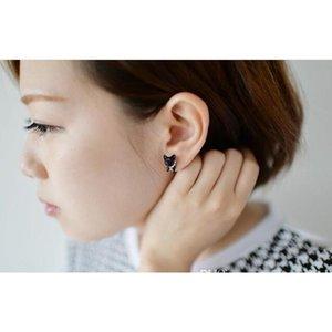 3d Cute Black Cat Piercing Stud Earrings For Women Girls And Men Pearl Channel Earring Fashion Jewelry W sqcZsY dh_seller2010