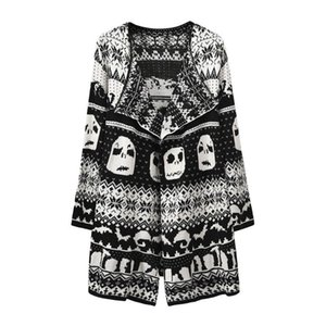 Women Long Sleeve Cardigan Knitted Sweater Top Skull Turn-Down Collar Outerwear