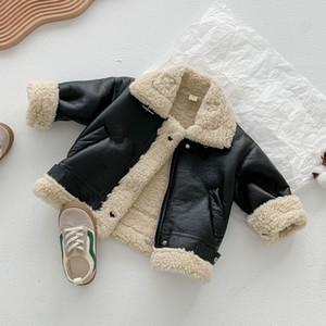 Kinder Motorrad Leder Mantel Mädchen Faux Pelzjacke Baby Junge Winter Kleidung Mode Reißverschluss Hemd Langarm Warme Tops Baumwolle Neue Q1123