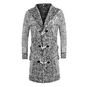 Men Winter Warm Hooded Long Sweatercoat Fashion Style Men Thicker Warm Casual Sweaters Cardigan Long Sweaters Size 3XL