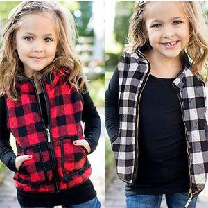 Jungen Mädchen Kinder Gepolsterte Weste Winterjacken Plaid Baumwolle Wattierte Reißverschluss Mantel Westen Kinder Warme Outwear Casual Tops Kleidung LY11263