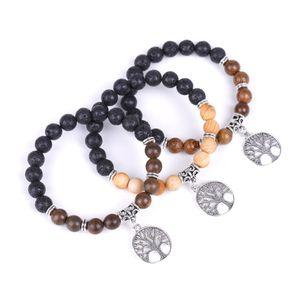 8MM Lava Stone Wooden Ebony Beads Tree Of Life Bracelet DIY Aromatherapy Essential Oil Diffuser Lovers Couple Bracelet Yoga Strand Jewelry