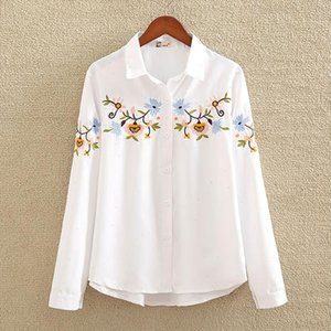 Long Sleeve Floral Embroidery Women Blouse White Elegant Turn Down Collar Office Lady Casual Blouse 2021 Spring New Top